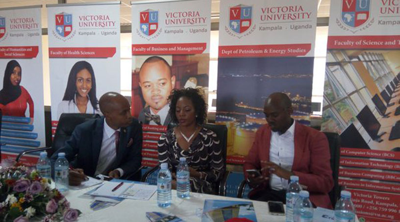Musolini, Dr Kitaka and Andrew Mwenda facilitated the career day event at Victoria University