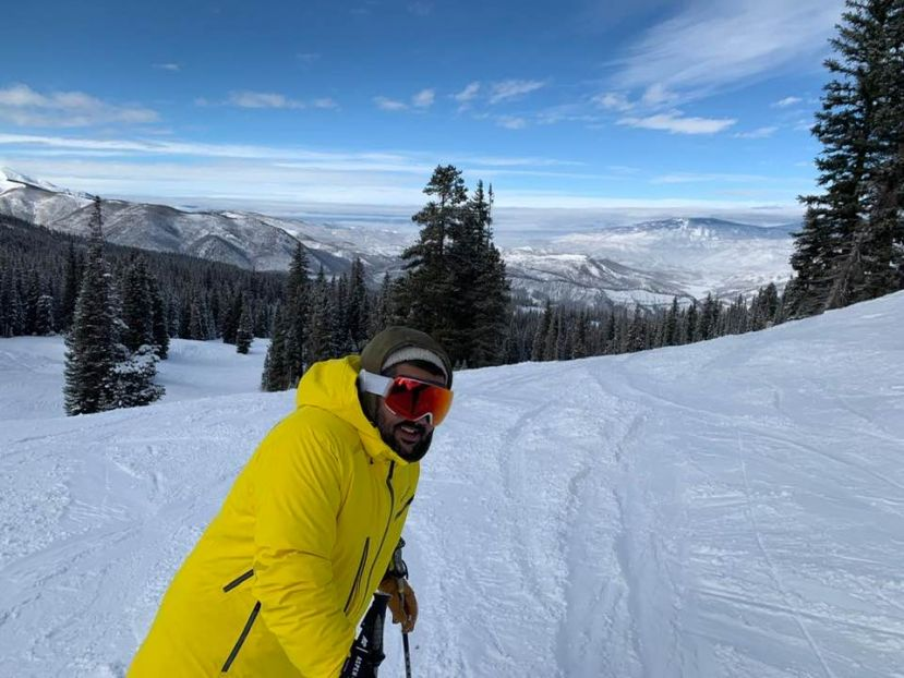 Rajiv Ruparelia skiing in Aspen, Colorado, US