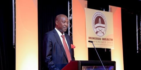 UCMP's Elly Karuhanga speaking at a recent mining convention