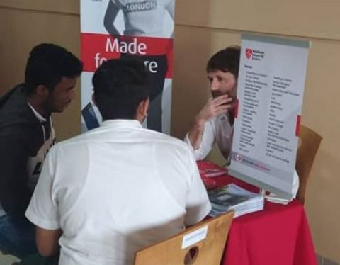 Students of Delhi Public International School getting career guidance at the school's career guidance fair