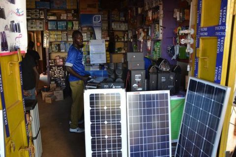 Solar panels being sold at a retail shop. Uganda needs to adopt alternative energy sources