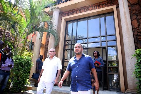 Dr. Sudhir Ruparelia  and son Rajiv leaving court premises recently