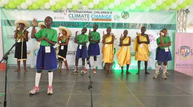 Pupils presenting at the 3rd International Children Climate Change Conference in Kampala, Uganda