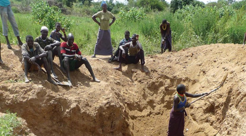 Artisanal miners in Karamoja looking for gold