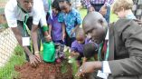 NEMA Planning Director MR Nsereko planting trees with children recently