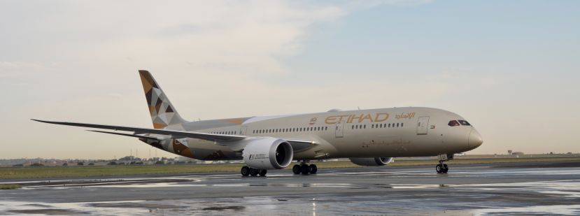 Etihad Airways' Boeing 787-9 Dreamliner arrives at O .R. Tambo International Airport, Johannesburg.