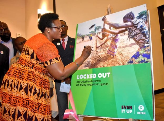 State minister for lands, Persis Namuganza, launching the report at Mestil Hotel in Kampala