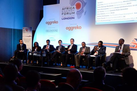 Speakers take part in a panel discussion at the Africa Energy Forum 2016 in London