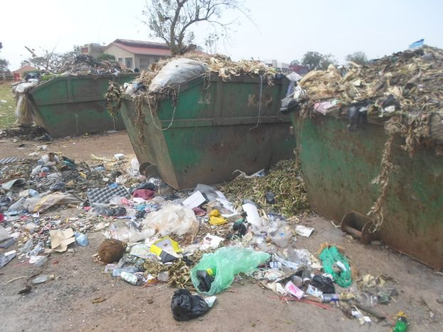 Garbage drums where garbage is collected in Hoima town