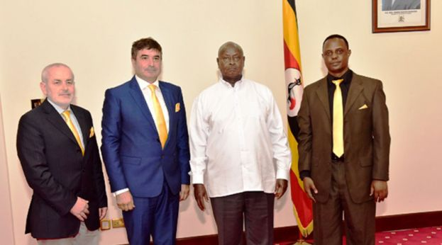 Museveni and the Italian investors at his presidential home in Entebbe