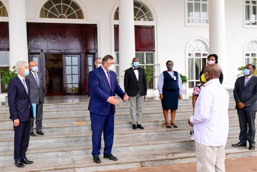 President Yoweri Museveni and Patrick Pouyanné interacting after the meeting