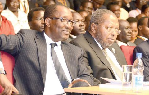 Richard Byarugaba  of NSSF and Tumusiime Mutebile of BoU - the two institutions have not reconciled their financial books