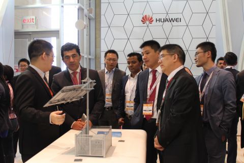 Huawei officials showcasing the Huawei Rural Mobile Coverage Solution at AfricaCom 2016