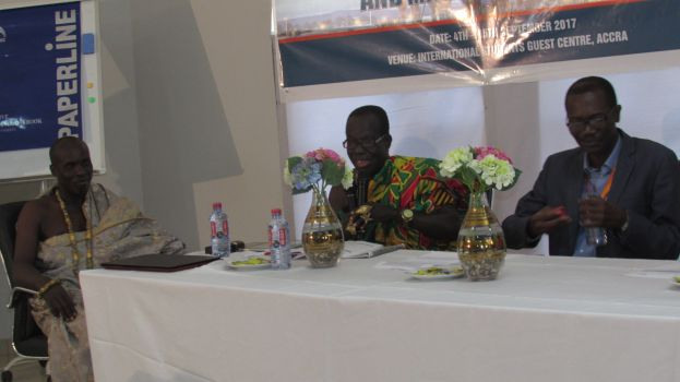 the Paramount Chief of Western Nzema Traditional Area, Nana Awulae Annor Adjaye, making his presentatin