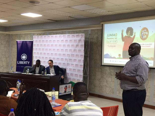 Jumia Uganda offcials addressing the press
