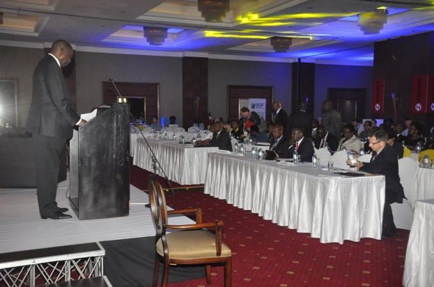 Elly Karuhanga the chairman Uganda Chamber of Mines and Petroleum (UCMP) presenting at a previous mining conference