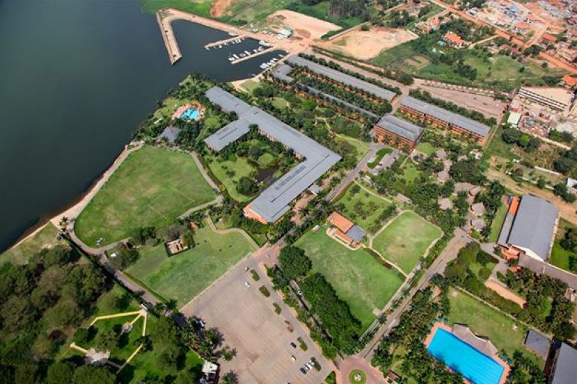 An aerial view photo showing the expansive multi purpose Speke Resort and Munyonyo Commonwealth Resort located on the shores of Lake Victoria