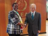 Eng Irene Muloni meets Mr. Yuniya Amano at the IAEA Headquarters last year during the General Assembly for Member States