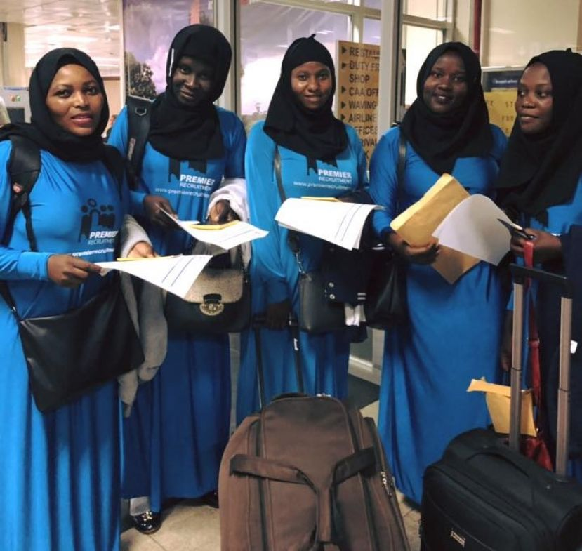 Workets recruited by Premier Recruitment Limited prepare to fly to Saudi Arabia recently